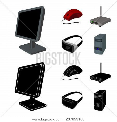 Monitor, Mouse And Other Equipment. Personal Computer Set Collection Icons In Cartoon, Black Style V