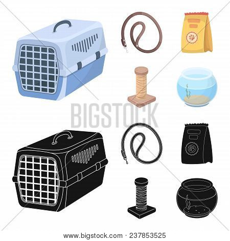 Leash, Feed And Other Zoo Store Products.pet Shop Set Collection Icons In Cartoon, Black Style Vecto