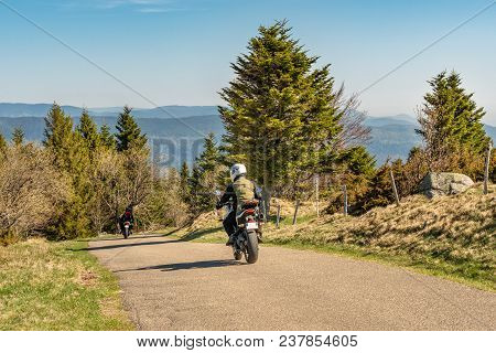 French Landscape - Vosges. View Towards The Vosges Massif With Hills And Trees And Two Motorbikes In