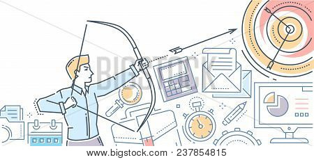 Businessman Hitting The Target - Modern Flat Design Style Colorful Illustration On White Background.