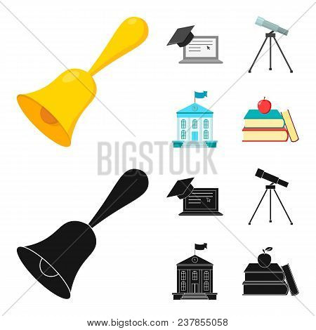 School Bell, Computer, Telescope And School Building. School Set Collection Icons In Cartoon, Black