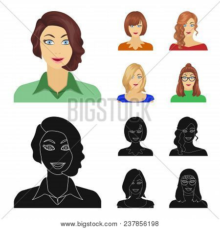 The appearance of a woman with a hairdo, the face of a girl. Face and appearance set collection icons in cartoon, black style vector symbol stock illustration . poster