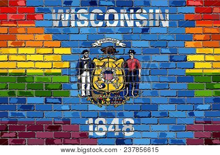 Brick Wall Wisconsin And Gay Flags - Illustration, Rainbow Flag On Brick Textured Background,  Abstr