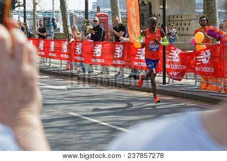 London, Great Britain, April 22, 2018 : British Runner Mo Farah Runs On 3rd Place. The 2018 London M