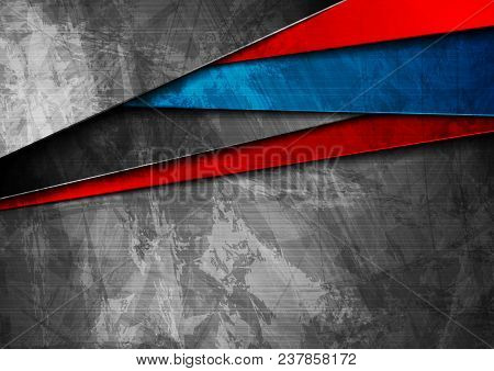 Grunge Tech Material Contrast Blue And Red Corporate Texture Background. Vector Illustration