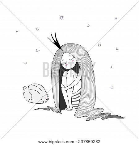 Hand Drawn Vector Illustration Of A Sleeping Princess With Long Hair And Bunny Among The Stars. Isol