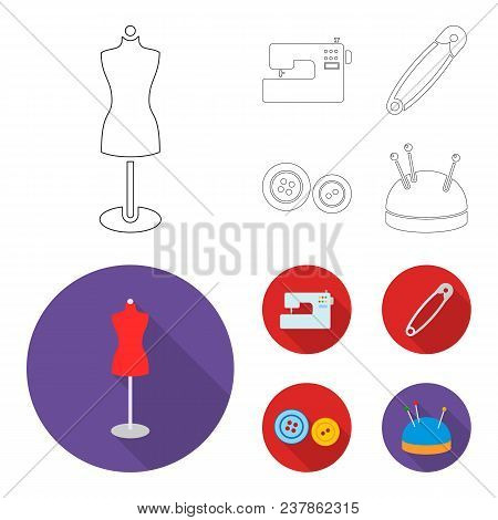 Electric Sewing Machine, Dummy On The Stand, Pin, Buttons.atelier Set Collection Icons In Outline, F