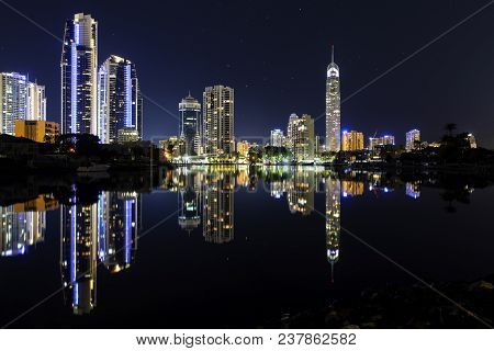 Gold Coast, Australia - April 9 2018: Gold Coast Q1 And Surfers Paradise City Scape, On A Clear Nigh