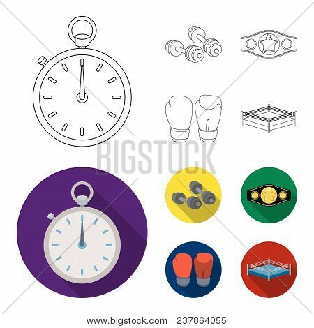Boxing, Sport, Stopwatch, Watch .boxing Set Collection Icons In Outline, Flat Style Vector Symbol St