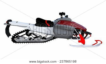 3D Rendering Snowmobile On White