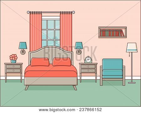 Bedroom Interior. Hotel Room. Vector. Retro Home Space In Line Art Flat Design With Bed, Window And