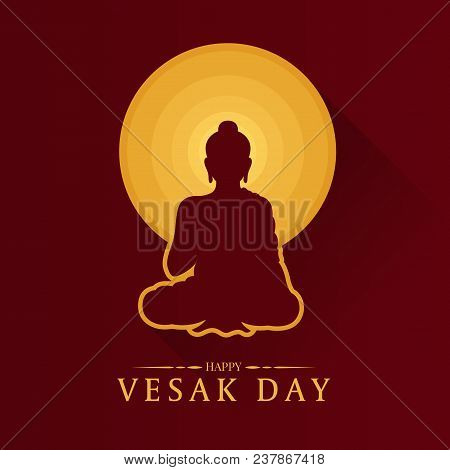 Happy Vesak Day Banner With Buddha And Circle Full Moon Sign Vector Design