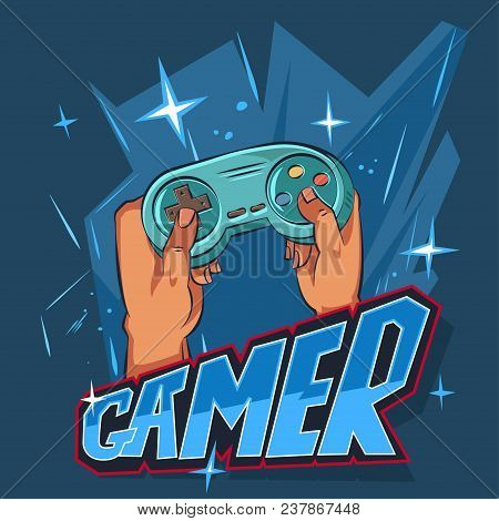 Gamer Logo. Vector Cartoon Illustration Of A Joystick In Hands On A Blue Background. Character Desig