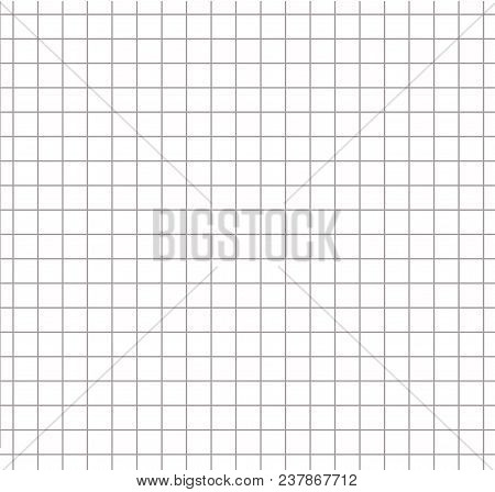 Paper Square Grid Pattern Grey Color. Matematic Grid Background. Seamless Cut Pattern. Vector