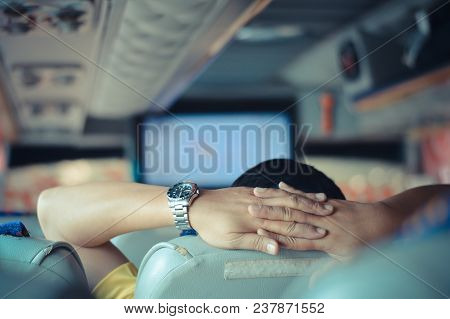 Guy Sitting On A Comfortable Bus In A Relaxed Manner Selective Focus Vintage Style .