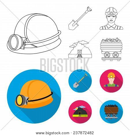 A Shovel, A Miner, An Entrance To A Mine, A Trolley With Coal.mine Set Collection Icons In Outline,