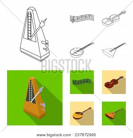 Musical Instrument Outline, Flat Icons In Set Collection For Design. String And Wind Instrument Isom