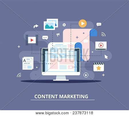 Content Marketing, Blogging And Smm Concept In Flat Design. Web Page Fill Out With Content. Articles