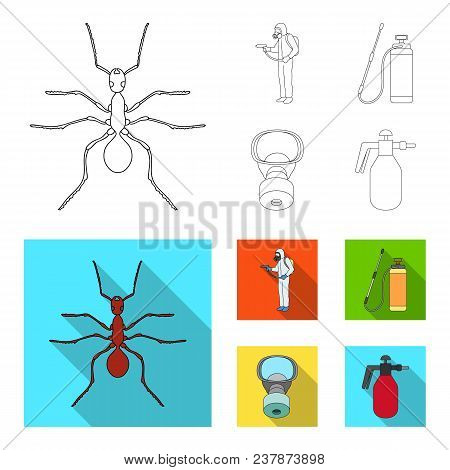 Ant, Staff In Overalls And Equipment Outline, Flat Icons In Set Collection For Design. Pest Control