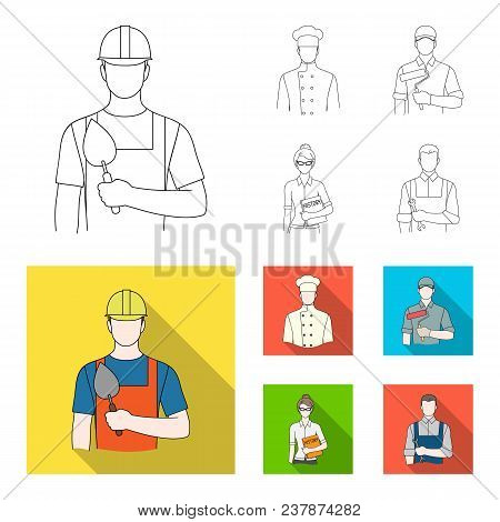 Cook, Painter, Teacher, Locksmith Mechanic.profession Set Collection Icons In Outline, Flat Style Ve