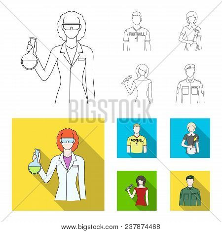 Woman Chemist, Football Player, Hotel Maid, Singer, Presenter.profession Set Collection Icons In Out