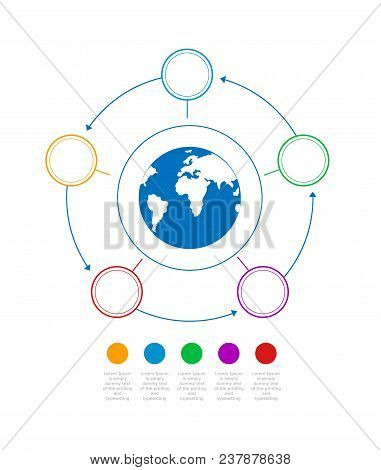 Infographics Business With A Globe In The Center Of The Circle. Timeline With 5 Steps, Circles, Ring