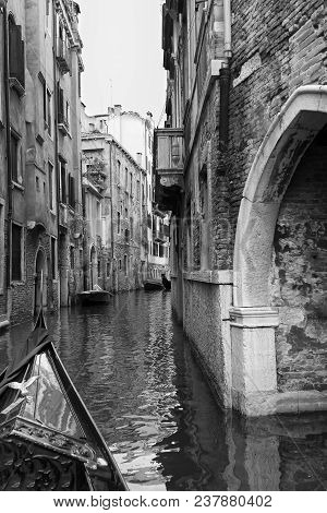 Small Bridge On A Narrow Canal In Venice Italy Artistic Conversion