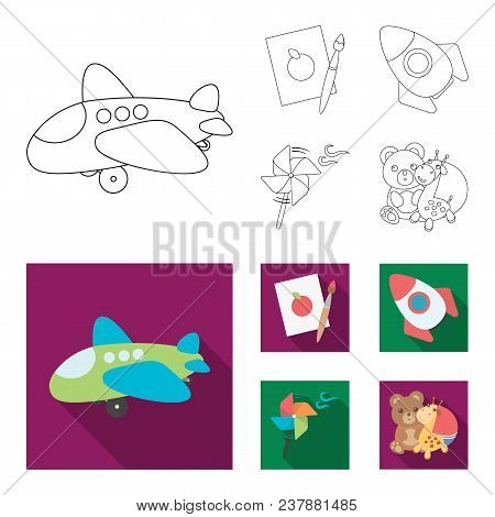 Children Toy Outline, Flat Icons In Set Collection For Design. Game And Bauble Vector Symbol Stock I