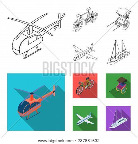 Bicycle, Rickshaw, Plane, Yacht.transport Set Collection Icons In Outline, Flat Style Vector Symbol