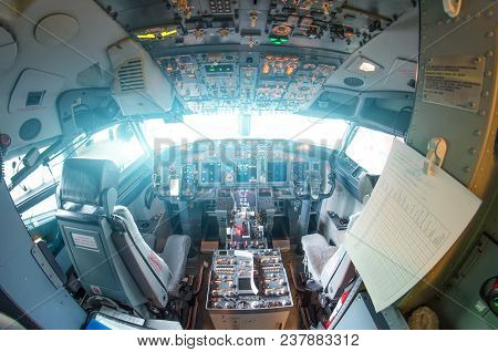 The Cockpit Of The Aircraft Is Empty, Fisheye View