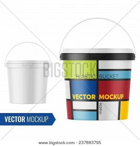 White matte plastic bucket for food products, paint, paste, putty. 900 ml. Realistic packaging mockup template with sample design. Front view, handle up. Vector illustration. poster