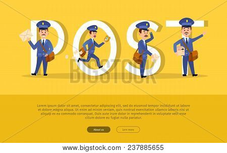 Post Conceptual Web Banner With Cartoon Postman Characters. Funny Postal Couriers Delivering Letters