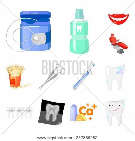 Dental Care Cartoon Icons In Set Collection For Design. Care Of Teeth Vector Symbol Stock  Illustrat
