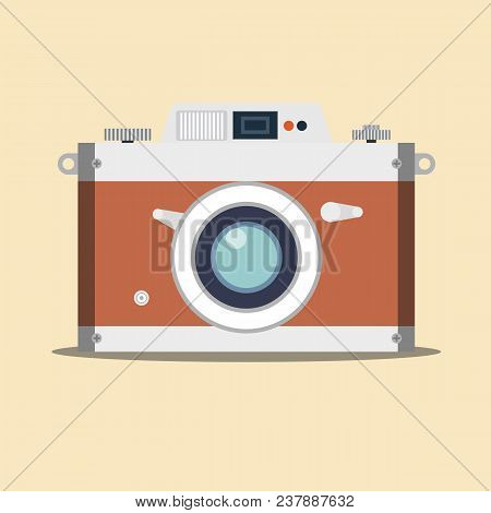 Detailed Old Vintage Camera Isolated Over Background. Stock Flat Vector Illustration.