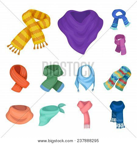 Scarf And Shawl Cartoon Icons In Set Collection For Design.clothes And Accessory Vector Symbol Stock