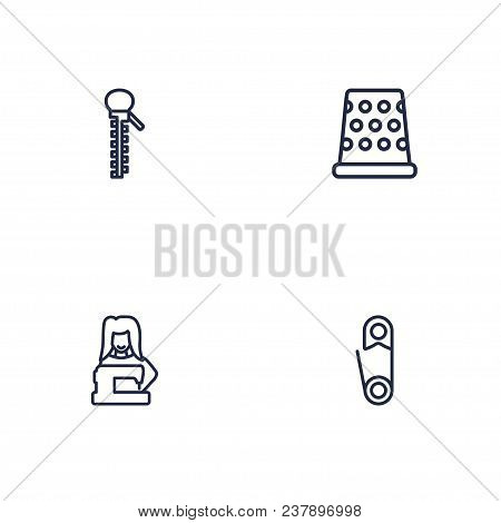 Set Of 4 Stitch Icons Line Style Set. Collection Of Fastener, Pintle, Clothier And Other Elements.