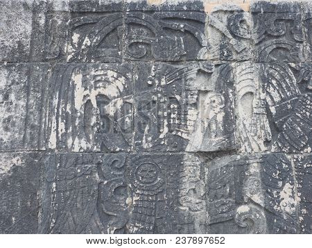 Detail Of Ancient Mayan Stony Relief With Pictograph At Ruins Of Chichen Itza City In Mexico Most Im