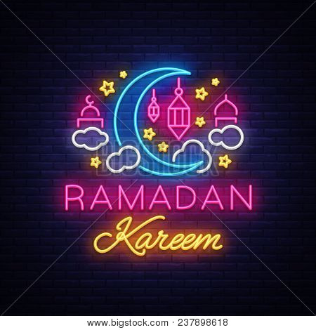 Ramadan Kareem Greeting Cards, Neon Sign. Design Template, Light Banner, Night Neon Advert. Ramadan