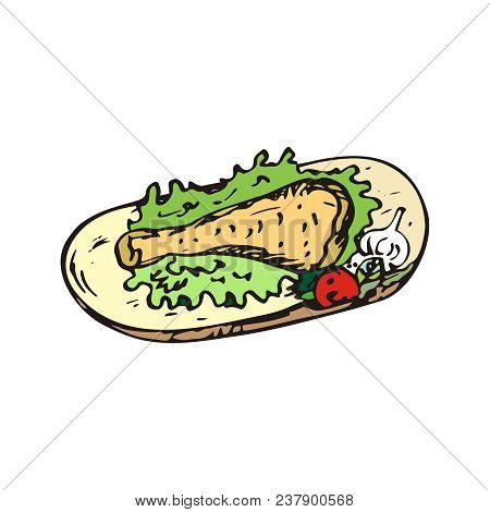 Chicken leg on a wooden Board with lettuce and vegetables. Fried, cooked, appetizing. just cooked. Freehand sketch illustration. Doodle art. poster