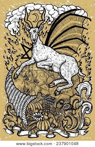 Goat Symbol With Horn Of Abundance, Hell Fire And Diabolic Sign - Pentagram On Old Texture Backgroun
