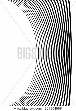 White Black Color. Linear Background. Design Elements. Wave Of Many Gray Lines. Protective Layer Ban