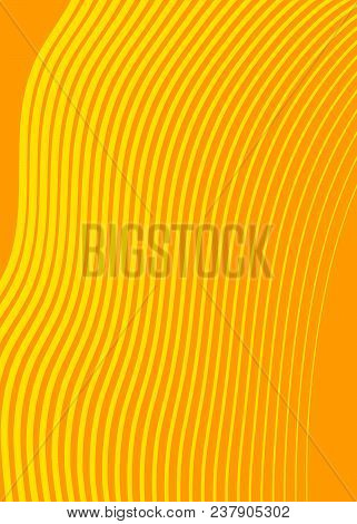 Yellow Color. Linear Background. Design Elements. Wave Of Many Gray Lines. Protective Layer Banknote