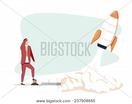 Rocket Launch, Ship.vector Illustration Concept Of Business Product On A Market. Startup Company Wit