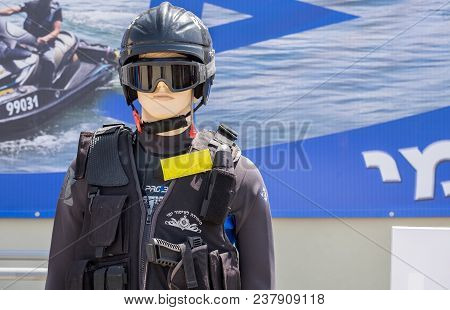 Beit Shemesh, Israel - April 19, 2018: The Israel Maritime Police Equipment On Dummy At Independence