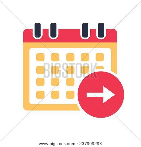 Calendar Next Day Icon Vector, Event Symbol. Agenda Symbol In Flat Design Style. Business Deadline A