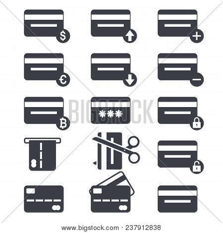 Credit Card Icon Set. Credit Card Payment Concept. Design Icon. Black Sign.