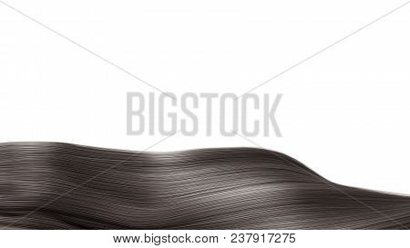Black Hair Isolated Over White Background Shiny Healthy Colored Hair Lock Closeup 3d Render