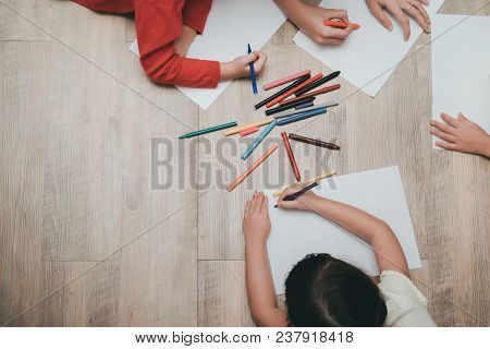 Kindergarten And Preschool Kids And Teacher Drawing,painting On Paper Learning Colorful Education To