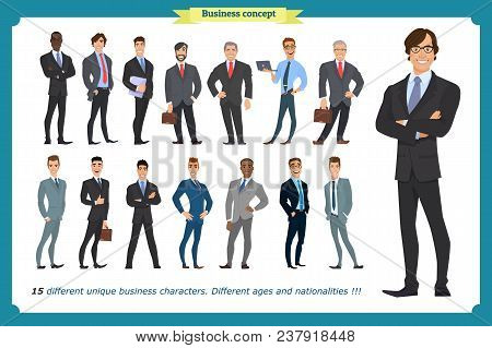 Business People Set Of Men In Suits Isolated Vector On A White.beard Styling Stylish Hairstyle Offic