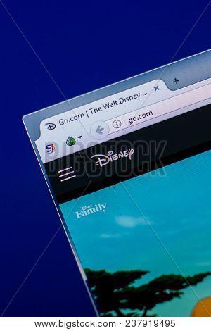 Ryazan, Russia - April 16, 2018 - Homepage Of Walt Disney Website On The Display Of Pc, Url - Go.com